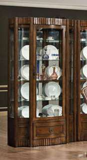 Antiqued Walnut Curio Display China Cabinet FREE S/H