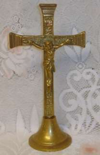 Antique Solid Brass Christian Crucifix Table / Shelf