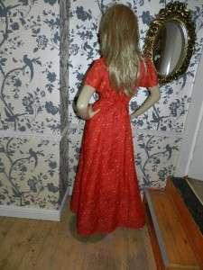 VINTAGE 70s RED DITSY FLORAL PRINT MAXI FLUTTER DRESS 8