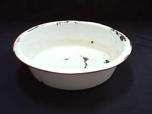 ANTIQUE ENAMELWARE LARGE WASH BASIN, BOWL WHITE WITH RED STRIPE