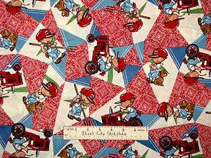 Harvester Bandanna Red Tractor Farm Boy Puppy Dog Patch Fabric BTY