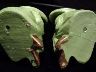 Pair Green Oriental Asian Sitting Man Woman ART Figurines