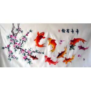 High Quality Chinese Hand Silk Embroidery Koi Fish
