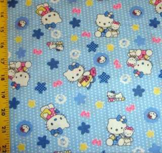 Hello Kitty white polka dots fabric   blue 62 W 1006