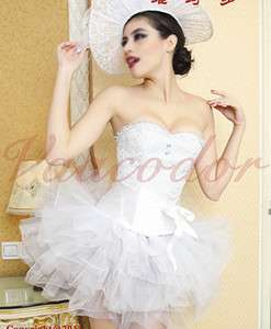 2XL White Lace Up Tutu Dress Costume Corset Top Bustier+Skirt+G String