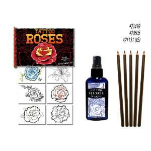Roses Tattoo Flash Art Book Stencil Pencils Supplies