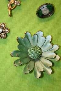 LARGE VINTAGE LOT 16 FLOWER RHINESTONE ENAMEL PINS BROOCHES HAIR CLIPS