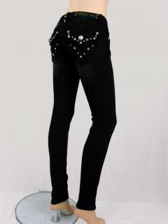 Women LA Idol Skinny Jeans Black Tribal Tattoo Crystal Flap Pockets 0