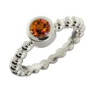 0.60 Ct Round Orange Mystic Topaz Argentium Silver Ring