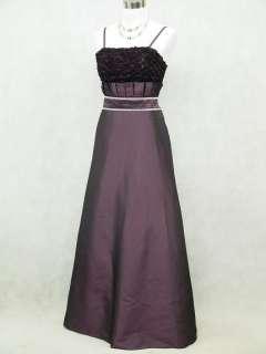 Satin Dark Purple Rose Long Prom Ball Gown Wedding/Evening Dress 14 16