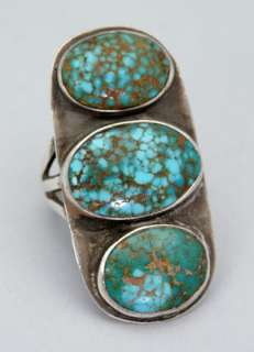 LRG Early NATIVE AMERICAN Navajo Ingot Silver Old NATURAL #8 Turquoise