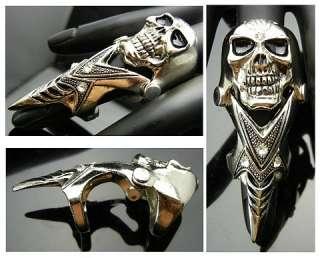 Punk EMO Rock Biker Goth Skull Armor Claw Ring TF105