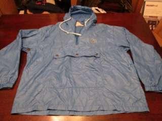 Retro Blue Windbreaker Light Fall Pullover Rain Jacket Sz L