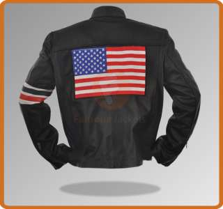 Easy Rider Fonda Captain America US Flag Motorcycle Black Leather