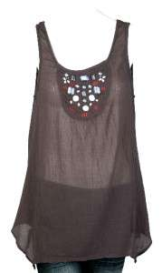 NEW $68 EDME & ESYLLTE Anthropologie Embellished Sheer Blouse Top
