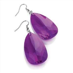 Shaped Purple Acrylic Drop Earrings (Silver Tone)   7cm Drop Jewelry
