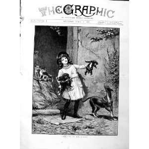1886 Berkley Fine Art Little Girl Puppy Dogs Cats: Home & Kitchen