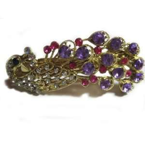 Rhinestone Peacock Hair Clip   Purple Beauty