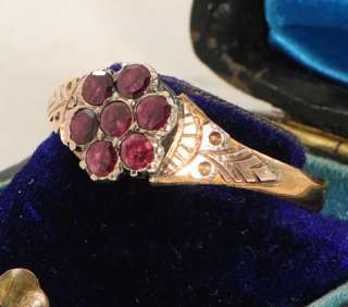 Victorian 22 Ct Gold Garnet Flower Ring Size S or 9 1/4 1859