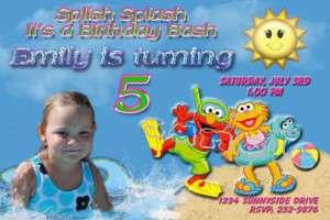 Pool Party Custom Photo Birthday Invitation Elmo~Luau