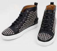 New Womens Silver Studded High Top Sneakers Black Faux Leather 9   11