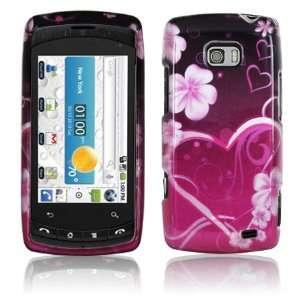 PINK FLOWER HEART DESIGN HARD CASE for LG ALLY PHONE