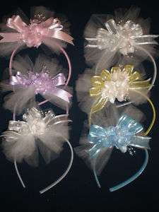 Flower Girl Head Piece Hair Band Headband CHOOSE COLOR