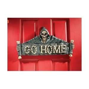 Scary Skull Reaper Door Welcome Sign Wall Sculpture