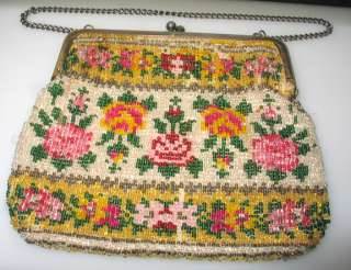 ANTIQUE FRENCH BEADED ROSE FLOWERS EVENING BAG PURSE