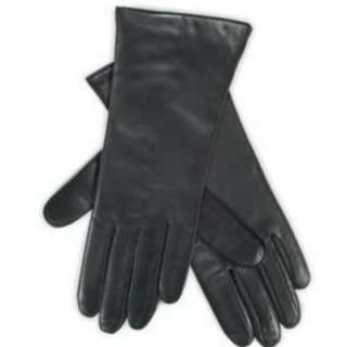 Womens Sleek Black Leather Gloves Isotoner