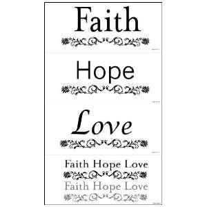 Snap SNAP1081 Faith, Hope, Love Instant Wall Art, Black, 2