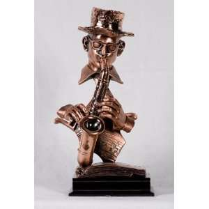 Bust Of Jazz Musician Playing Saxophone Display Statue