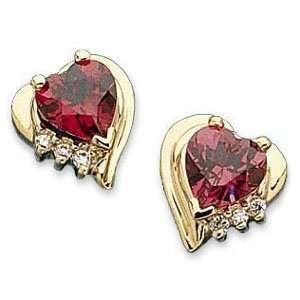 14k Yellow Gold Heart Rhodolite Garnet Diamond Earrings Jewelry