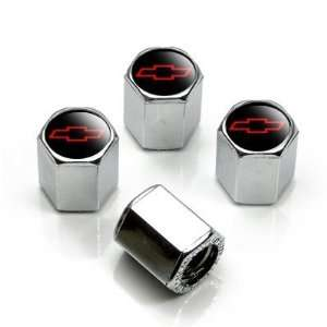 Chevy Red Bowtie Logo Valve Stem Caps   (Set of 4