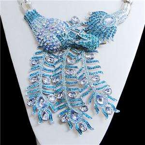 Hot Peacock Earring Necklace Set Swarovski Crystal Blue
