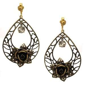Fichu Antique Gold Crystal Flower Clip On Earrings