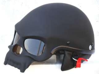 MASEI MATT BLACK SKULL MOTORCYCLE CHOPPER HELMET