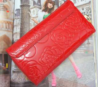 Womens Clutch Wallet Patent Leather Wallet Purse Red New W004