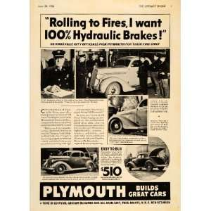 Ad Plymouth Car Fire Chief C. M. Johnson Knoxville   Original Print Ad