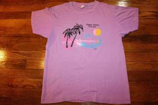 80s thin MIAMI BEACH FLORIDA t shirt * SCREEN STARS * sunset palm tree