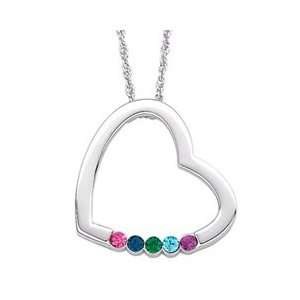 Mothers Birthstone Heart Pendant in Sterling Silver (5 Stones) FAMILY