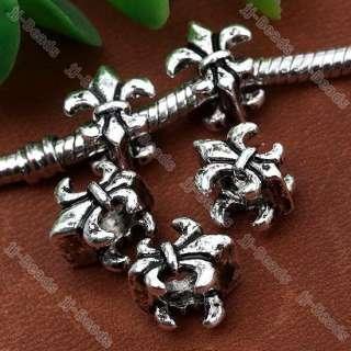 5pc Tibetan Silver Navy Stamp Fleur De Lis European Beads Fit Charms