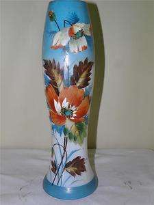 ANTIQUE OPALINE GLASS HAND PAINTED ENAMEL FLORAL VASE 14High