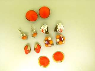 SIGNED PISCITELLI ORANGE 17 PC LOT MOP CATS EYE GLASS BEAD VINTAGE