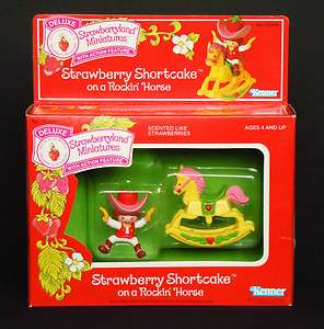 Deluxe Mini STRAWBERRY SHORTCAKE on ROCKING ROCKIN HORSE #45490_NRFB