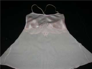 VICTORIAS SECRET PINK SILK SATIN & CHIFFON NIGHTIE SM