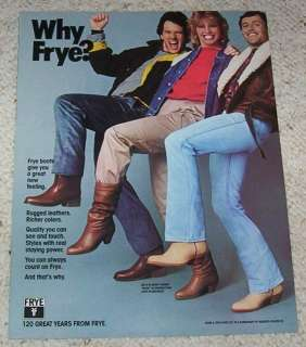 1984 Frye BOOTS girl guys Cowboy western PRINT 1 pg AD