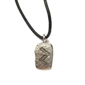 Rune Khor Pewter Pendant on Corded Necklace, Ancient Runes