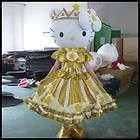 Yellow kitty Cat fancy adult cartoon mascot costume