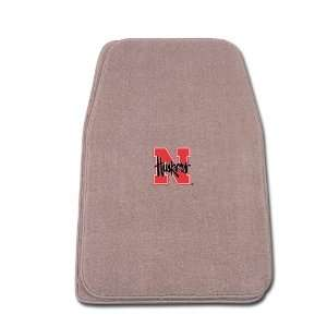 Beige Universal Fit Front Two Piece Floormat with NCAA Nebraska Logo